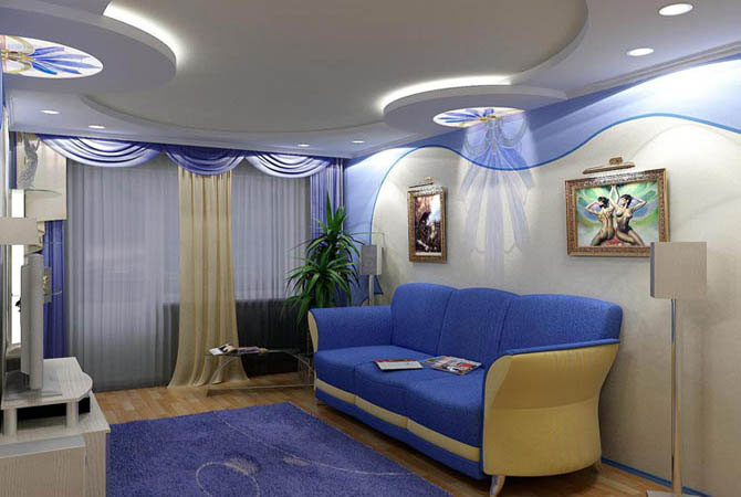 Дизайн стелі з гіпсокартону фото